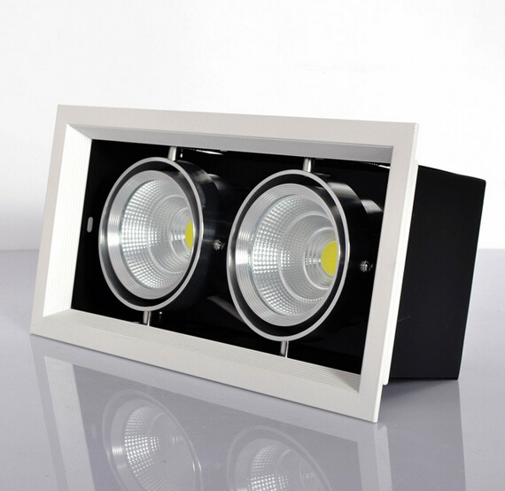 Wholesale 10w/20w/30w led grille light square 85-265V/AC COB LED griile downlight for ceiling lighting Free Shipping