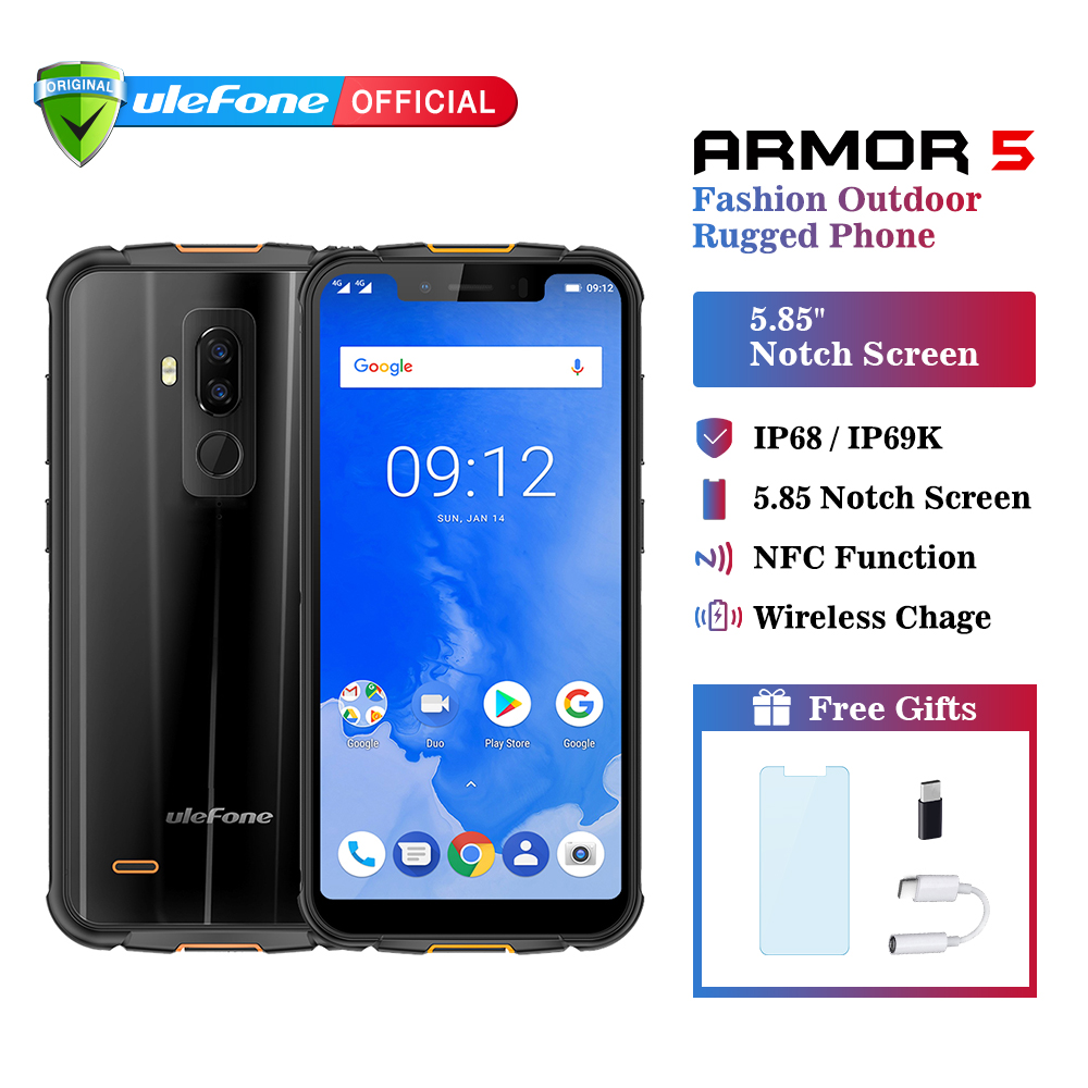 Ulefone Armor 5 IP68 téléphone portable étanche Android 8.1 5.85 HD + Octa Core 4 GB + 64 GB NFC Face ID sans fil Charge 4G Smartphone