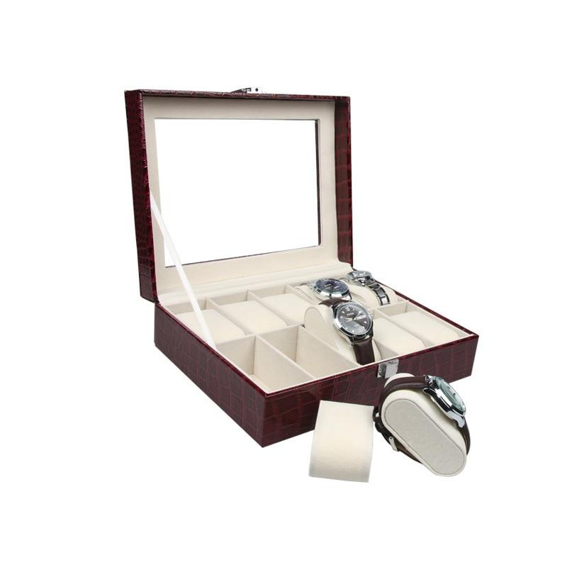 Luxury Watch Box 10 Grids Slots PU Leather Case Jewelry Storage Organizer Elegant Watches Collection gifts Organizer caja reloj