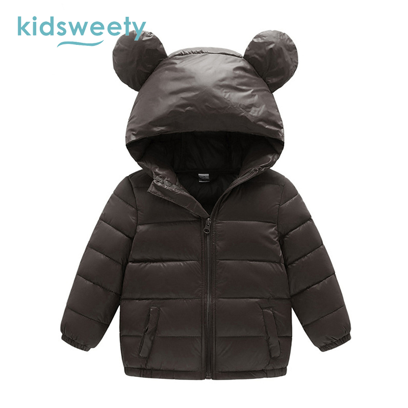 Kidsweety Kids Down Jacket Plain Boy Long Sleeve Unisex Lovely Ear Hooded Coat Child Straight Zipper Girl Print Kid Down Jacket