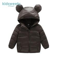 Kidsweety Kids Down Jacket Plain Boy Long Sleeve Unisex Lovely Ear Hooded Coat Child Straight Zipper Girl Print Kid Down Jacket