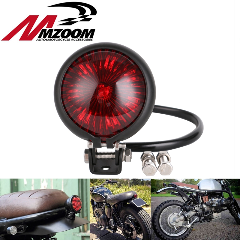 Red LED Motorcycle Adjustable Cafe Racer Style Stop Tail Light Motorbike Brake Rear Lamp Taillight for Chopper Bobber