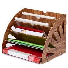 Деревянный Цветной органайзер для офисного стола DIY шкаф для документов многофункциональные настольные аксессуары для хранения журналов книжная полка для стола