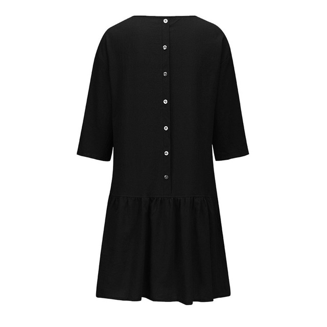 Spring Summer Dress Casual Loose Women O Neck 3/4 Sleeve Ruffle Swing Cotton Solid Color Knee-Length Dress 2