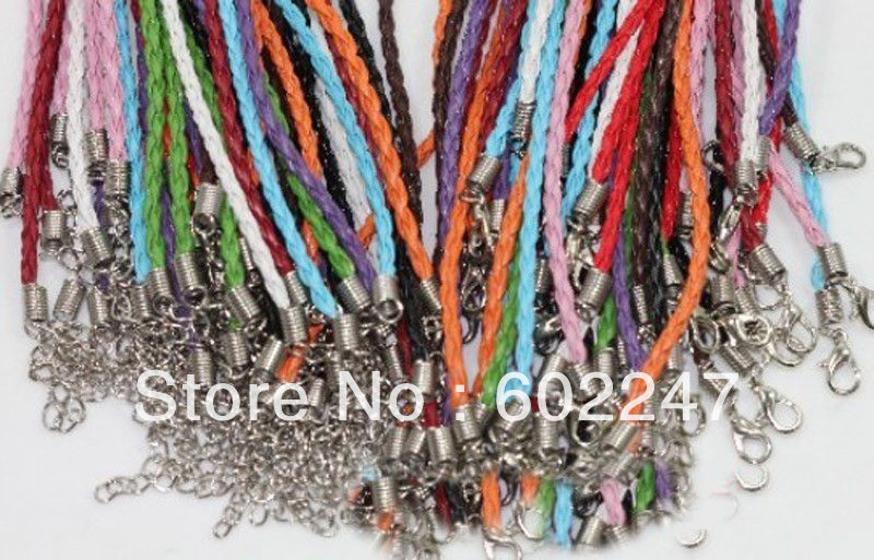 10//30pcs Leather Braid Rope Hemp Cord Lobster Clasp Chain Necklace Jewelry