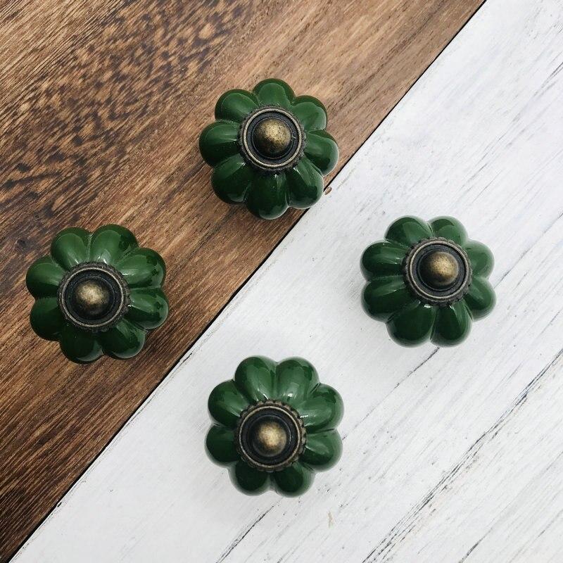 5 unidades Pomos de cer/ámica para puertas de armarios de cocina Bowarepro cajones color verde pomos con dise/ño de calabaza muebles