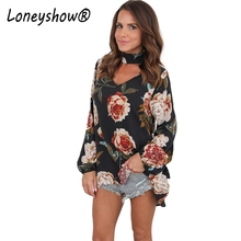 Loneyshow Vintage Choker V Neck Women Floral Printed Casual Blousea Tops 2017 New Long Female Full Sleeve Autumn Fashion Blouses