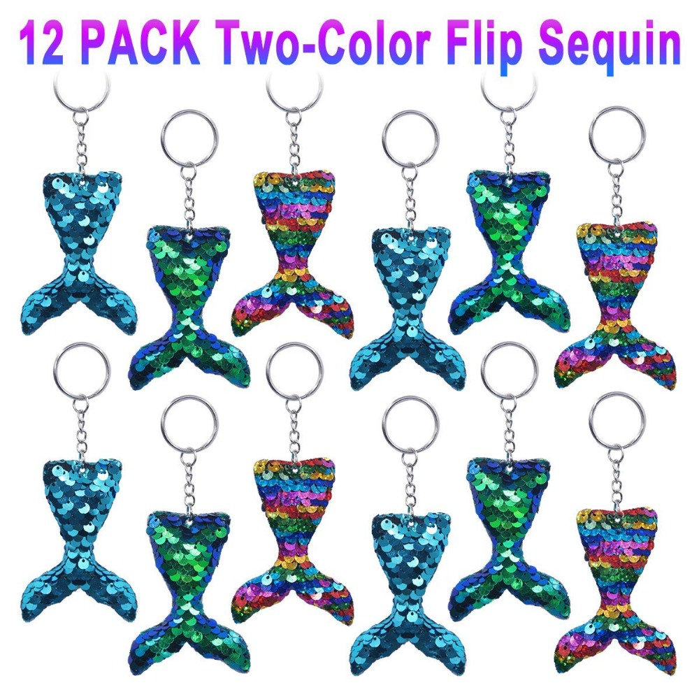 12pc Christmas Gift Colorful Sequins Mermaid Tail Keychain Charms Paillette Pendant DIY Mermaid Ornament Party Decor Accessories
