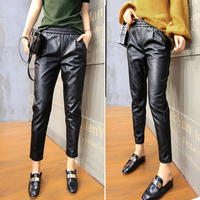 Casual leather pants female new Korean plus velvet loose thin feet nine points harem pants