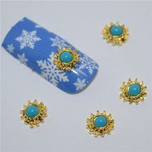 10psc New Peacock blue stars 3D Nail Art Decorations,Alloy Nail Charms,Nails Rhinestones Nail Supplies #447(China)