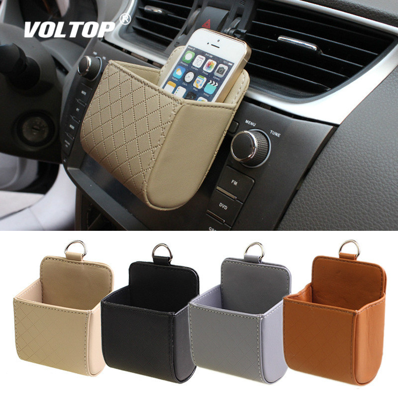 Car Hanging Storage Bag Organizer Accessories Air Conditioning Outlet Mobile Phone Debris Bucket