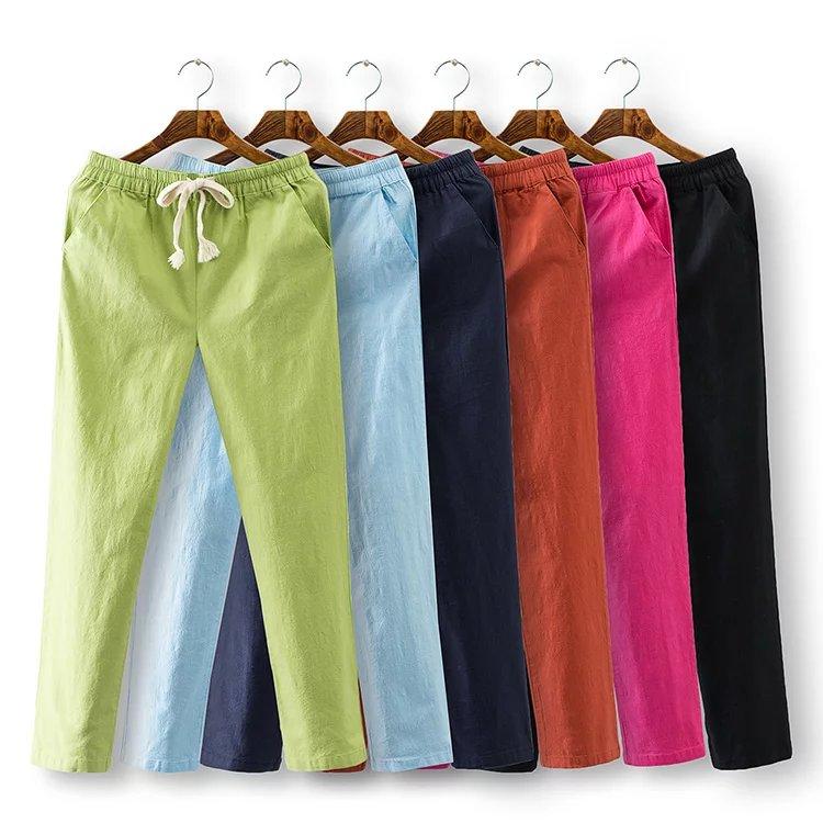 2016 Plus size Fashion autumn Skinny women Candy colors pencil pants cotton linen pocket Elastic Waist 4XL trousers black green