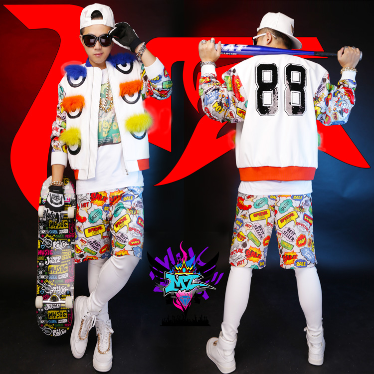 2016 new male singer DJ nightclub bar right Zhi Long GD stage costumes Men s fox