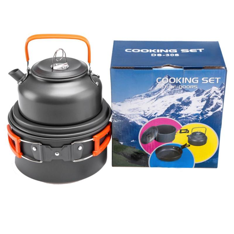 Ultra-Light Portable Outdoor Camping Cookware Water Kettle Pan Sets Picnic Camping Cookware Cooking Kits Utensils Hiking Picnic
