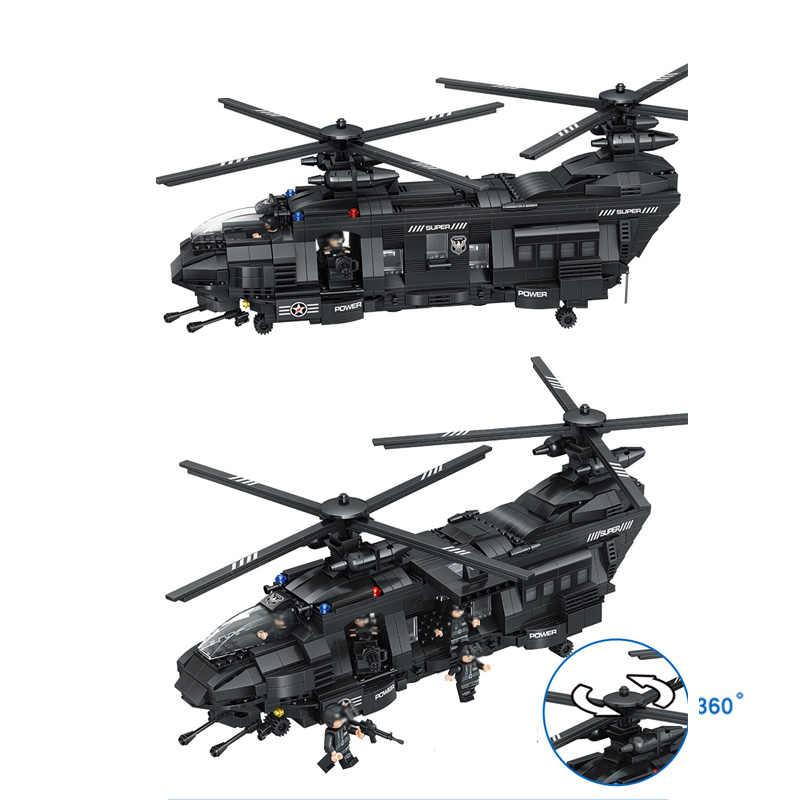 Grandes conjuntos de bloques de construcción SWAT equipo de transporte helicóptero Compatible ciudad policía regalo juguetes educativos para niños