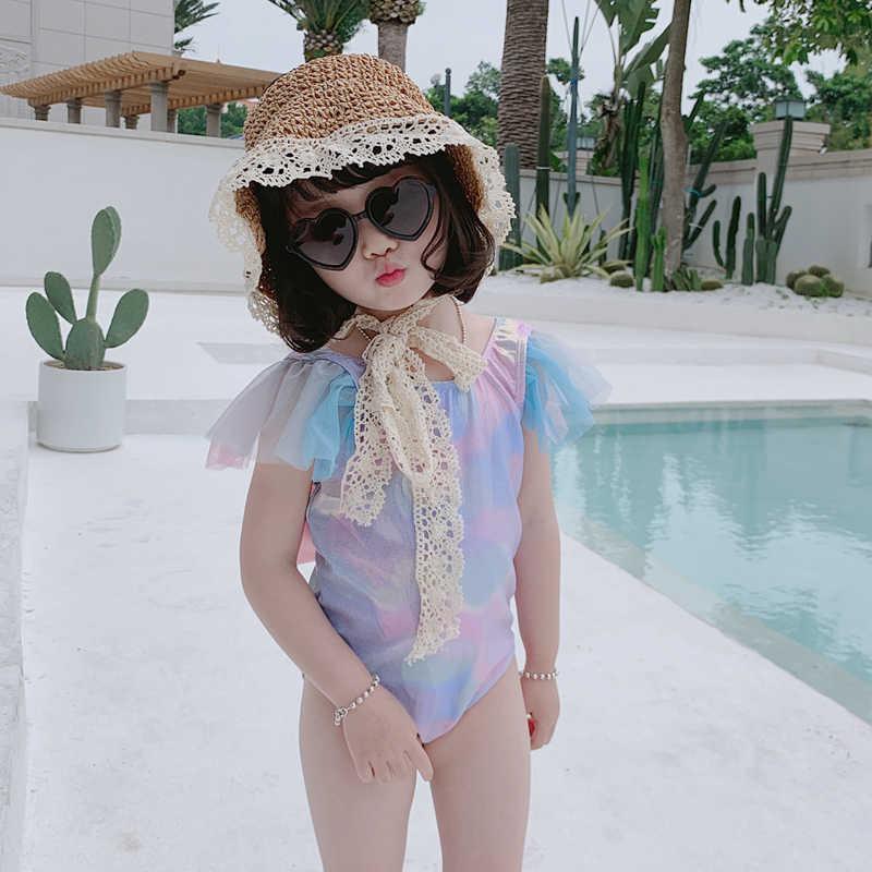 בת ים גדול קשת בגד ים תינוק בנות בת ים שחייה תלבושות פעוט ילדה בגד ים לילדים בנות חתיכה אחת ביקיני