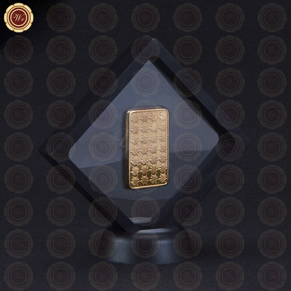 Top Quality 999.9 Gold Bar Novelty One Ounce Maple Gold Bar Leaf Replica Bullion with Black Coin Display Box