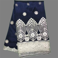 Wonderful Dark Blue Rew Silk George Textile African George Lace Fabric With Mesh Lace For Party