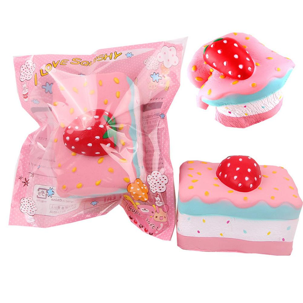 Squishy Slow Rising Square Simulate Strawberry Cake Toy For Kids Relieves Stress Decoration