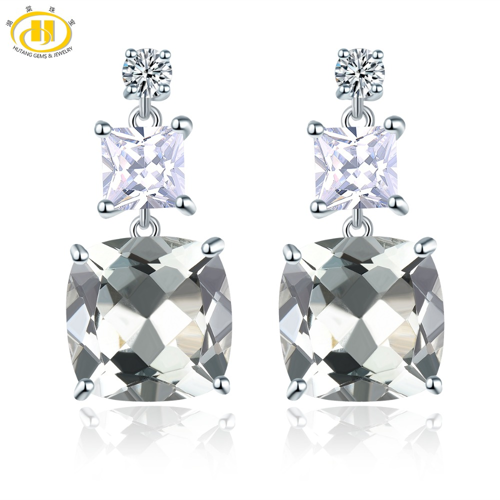 Hutang 7.79ct Natural Green Amethyst Stud Earrings 925 Sterling Silver Gemstone Fine Elegant Classic Jewelry for Women Gift New-in Earrings from Jewelry & Accessories    1