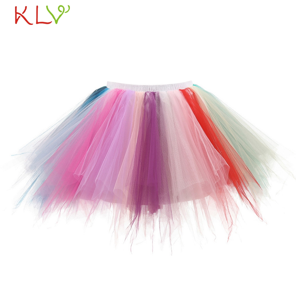 Skirts Womens Rainbow Tutu Rok Dames Fluffy Tulle Adult Sexy Mini Pleated Skirt Waist Faldas Mujer Moda 2019 De Verano 18Jan18
