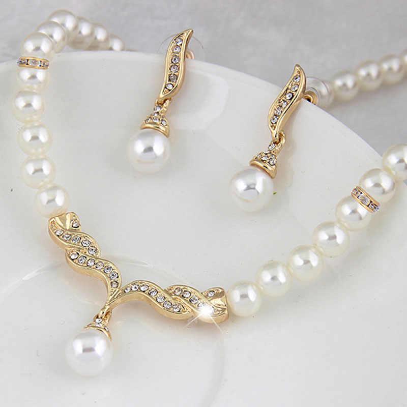 KUNIU Creative Gold Color Necklace 1Pair Earrings Wedding Bridal Pearl Jewelry Set For Women Lady Female Hot Sale