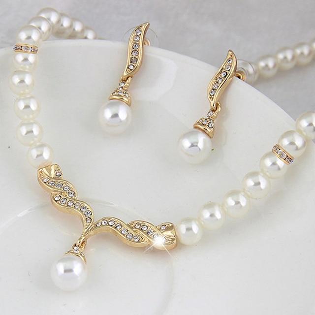KUNIU Creative זהב צבע שרשרת 1 זוג עגילי חתונה כלה פרל תכשיטי סט עבור נשים ליידי נקבה מכירה לוהטת