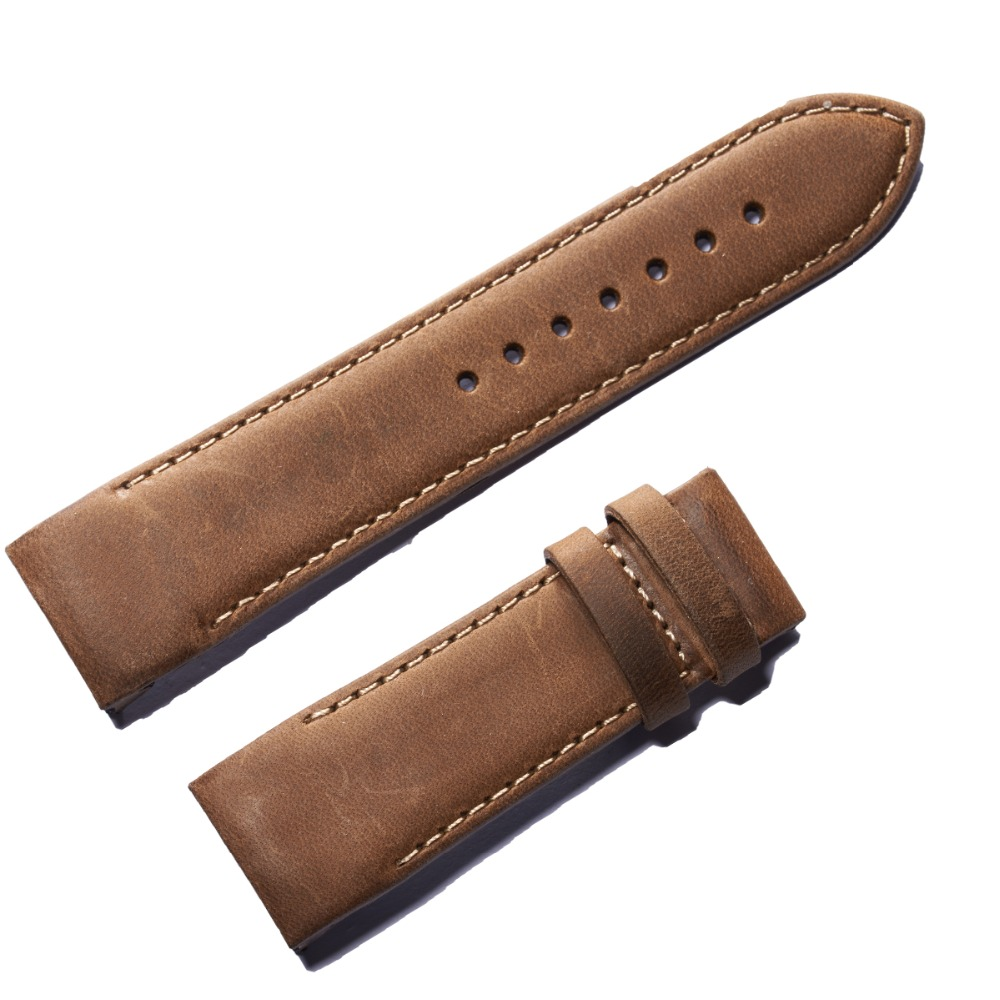 Reef Tiger/RT 24mm Width Brown Leather Watch Strap Black Genuine Leather Watch Wristband for Men RGA703 fashion tiger shape 10cm width wacky tie for men