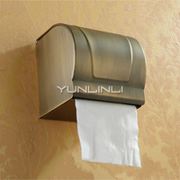 Vintage Style Paper Holder Paper Box Wall Mounted Antique Copper Toilet Paper Tray Bathroom Toilet Waterproof Roll Paper Box
