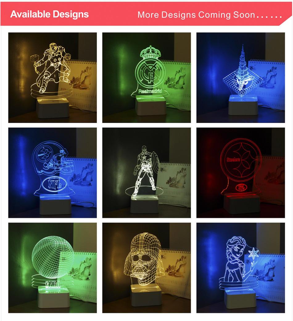 Novel USB Led Lights Loving Heart 3d Touch Home Decor Table Lamp (6)