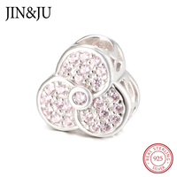 JIN JU 925 Sterling Silver DIY Jewelry Flowers Charms Beads Two Color Design Autumn Winter Christmassy