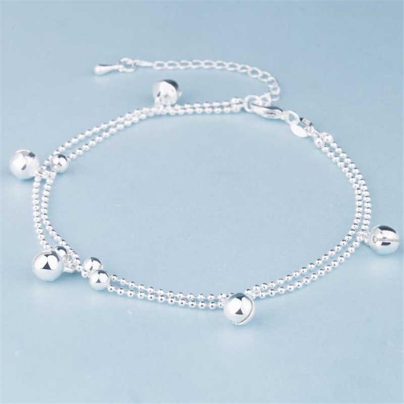 Kofsac nova moda 925 contas de prata esterlina corrente tornozeleiras praia festa bonito boll tornozelo pulseiras para as mulheres pé jóias presentes