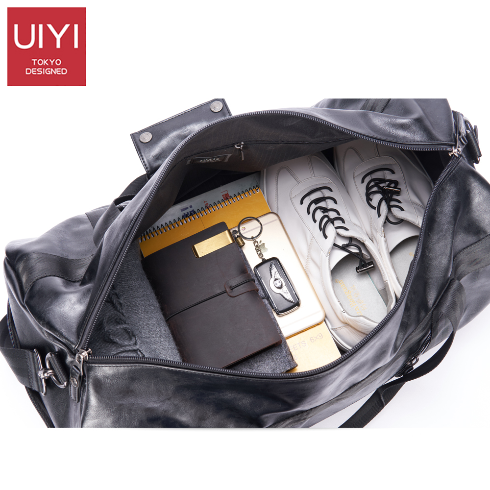 UIYI Men Soft PVC Travel Bag Classic High-Capacity handbag For Men Waterproof Shoulder Bags Luggage Travel Duffle # UYS7032 6