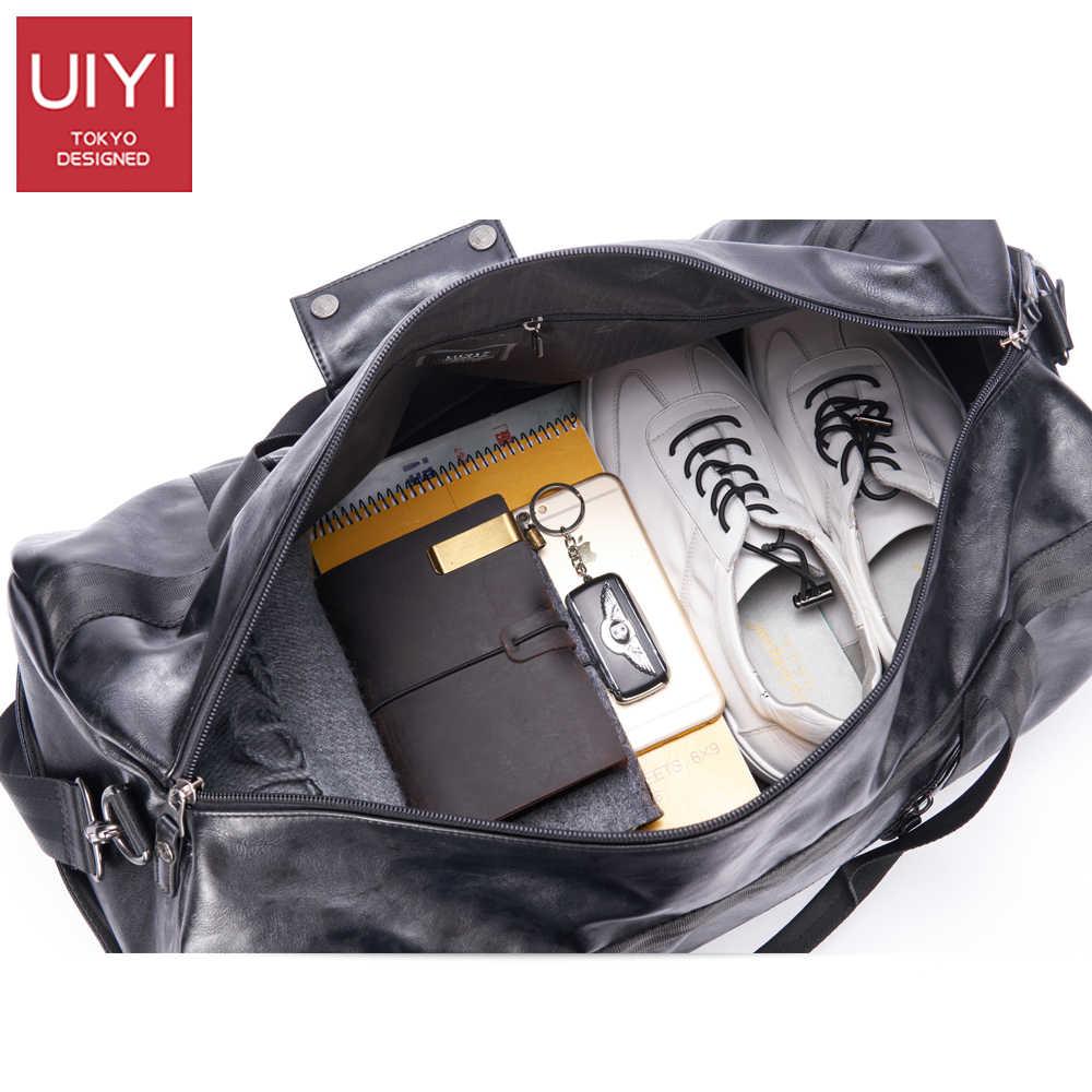 7d2ab0c47c56 ... UIYI Мужская мягкая Дорожная сумка из ПВХ Классическая вместительная  сумка для мужчин водонепроницаемые Наплечные сумки багаж