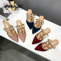 Home Slippers Women Shoes Ladies Mules Fashion Rivets Strap Shoes Ladies Sliders Women Flats Shoes House Slippers Slip on Shoes