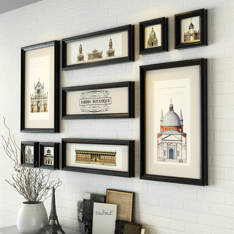 9 pieces lot collage frames high quality colored picture for House decoration pieces
