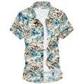 M-5XL 6XL mens shirts moda 2016 moda hombres camisas hawaianas con flor famosa marca de los hombres camisas para hombre camisa floral G0105