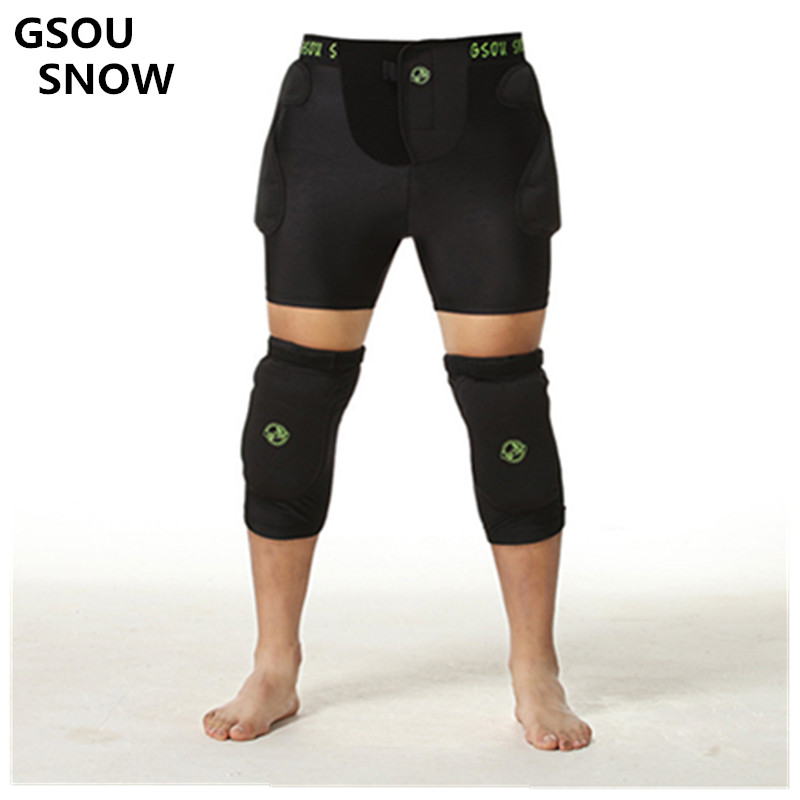 Gsou Snow for Girls For Women For Men a place to protect / Ski knee + hip Snowboarding anti-falling elastic  for outdoor sports