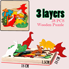 Mede of High-End Wood Multilayer 3D DIY Wooden Puzzle for Kids Toddlers Children Creative Learning Educational Puzzle Games Toy