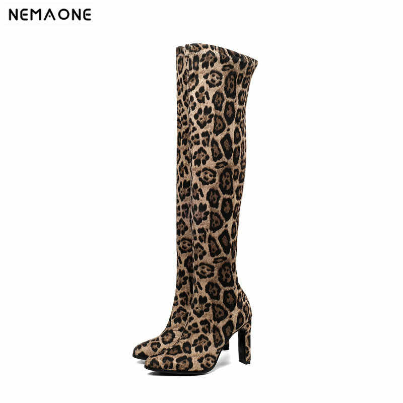 NEMAONE/женские Сапоги выше колена соблазнительные леопардовые женские сапоги на