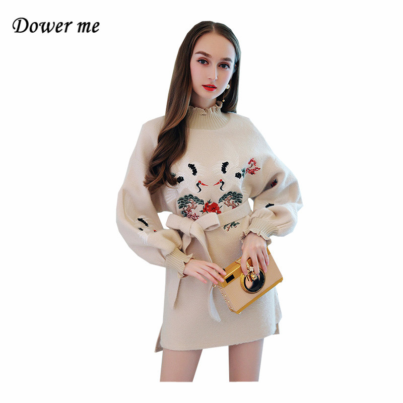Fashion Pure Color Women Knitted Dress Vestidos Elegant Embroidry Ladies Party Dresses Female Sweet Warm Tie Bow  Frocks YN2560 velvet thick keep warm winter hat for women rabbit fur knitted beanies ladies female fashion skullies elegant hats for women