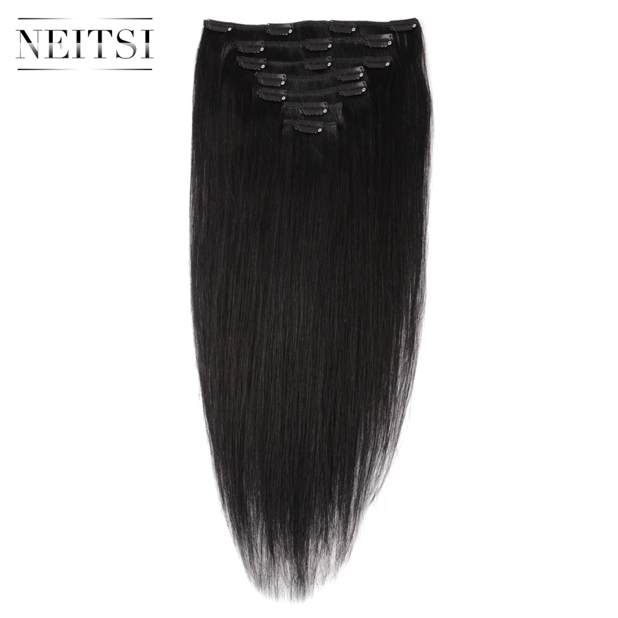 Neitsi Brazilian Machin Made Remy Black Clip In On Human Hair Extensions 20 inch 55 cm