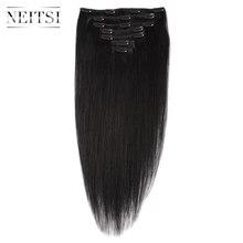 Neitsi бразильского мачин сделал Remy Черный клип в на Пряди человеческих волос для наращивания 20 дюймов 55 см 100 г 1 # 1B # прямые Клип Ins полной головки