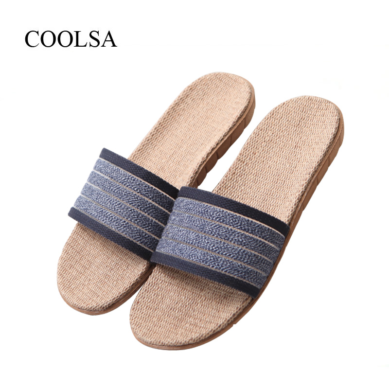 COOLSA Men's Summer Hollow Linen Solid Non-slip Slippers Indoor Bath Slides Beach Flip Flops Designer Slippers Drop Shipping Hot coolsa women s summer flat non slip linen slippers indoor breathable flip flops women s brand stripe flax slippers women slides