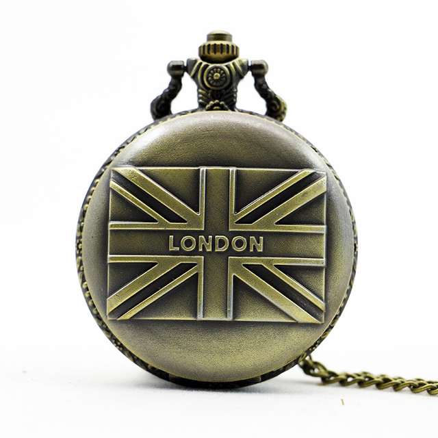 Vintage bronze london uk flag pocket watch necklace pendant vintage bronze london uk flag pocket watch necklace pendant watches hot women man diameter quartz watch mozeypictures Images