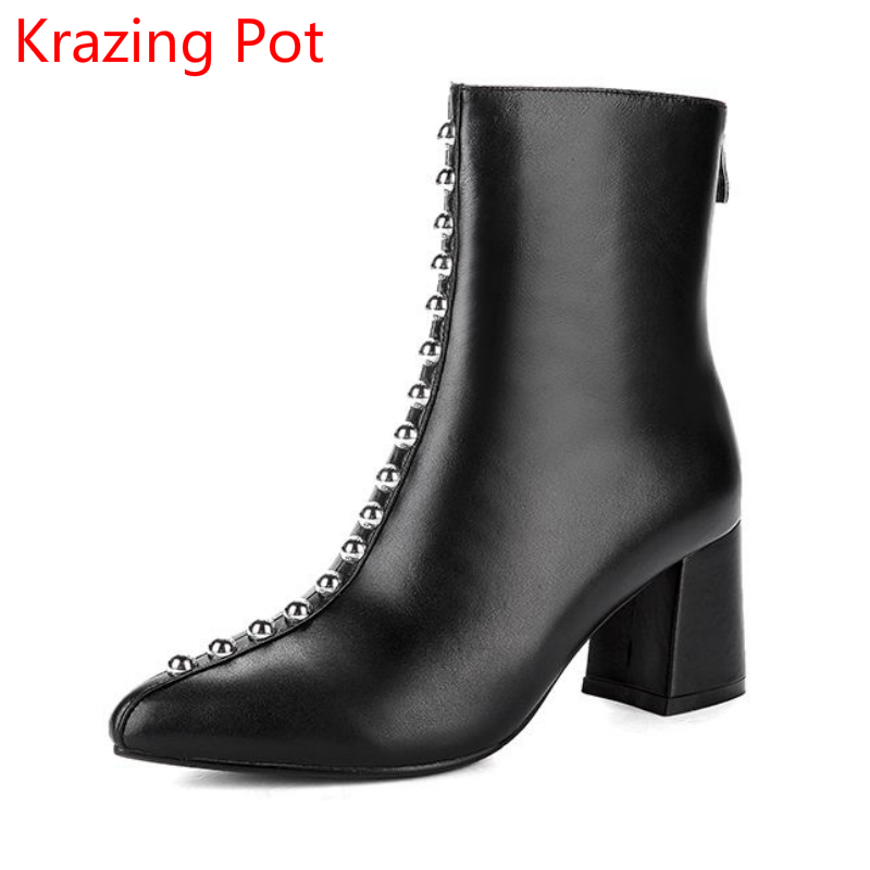 2018 Superstar Genuine Leather Winter Shoes Woman Handmade Thick Heel Rivets Motorcycle Elegant Zipper Ankle Boots for Women L06 mabaiwan handmade rivets military cowboy boots mid calf genuine leather women motorcycle boots vintage buckle straps shoes woman