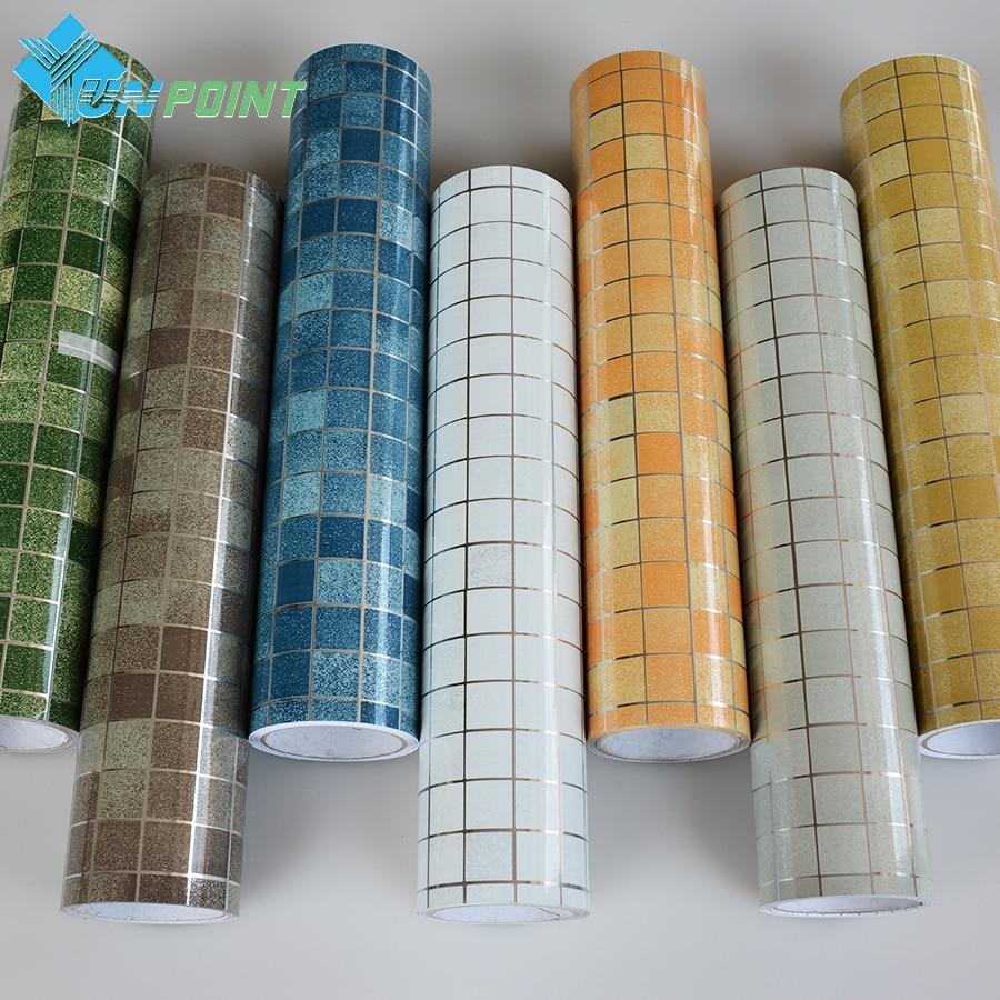 3Meter Mosaic Anti oil Wall stickers PVC Self adhesive Wallpaper Kitchen tiles /walls Art Decals ...