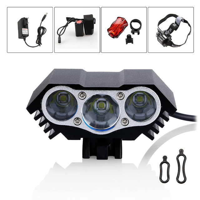 3x XM-L T6 LED Bicycle Light Head Front Light +8.4v 12000mAH Battery Pack+Rear Light With Headband