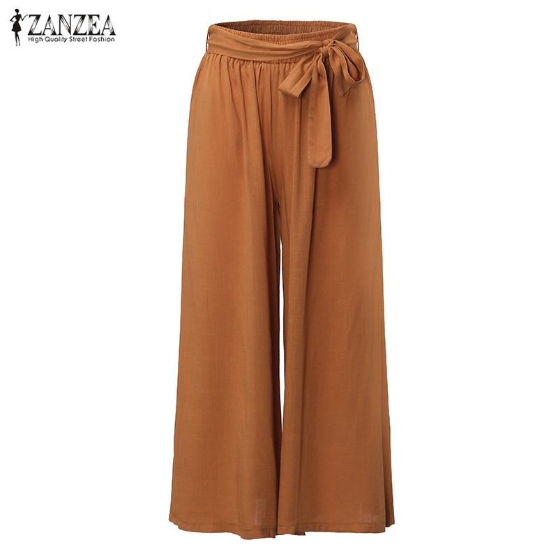 ZANZEA 2019 Women Casual Loose   Wide     Leg     Pants   Fashion Elastic Waist Trousers Casual Cotton Long   Pants   Plus Size M-5XL