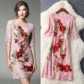 2017 spring dress mulheres plum blossom jacquard bordado vestidos de renda cor de rosa o-pescoço manga curta acima do joelho dress